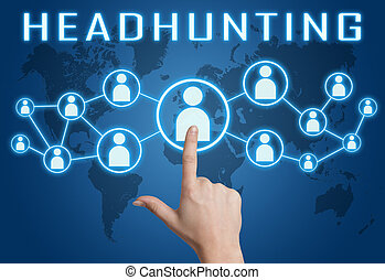 Headhunting concept with hand pressing social icons on blue world map background.