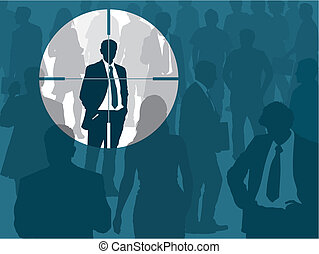 Crowd and one man selected, vector illustration.