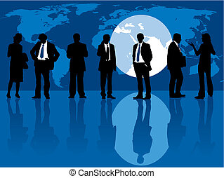 Group of people and one man selected, People are standing in front of a large display with world map. The base map is from Central Intelligence Agency Web site, vector illustration.