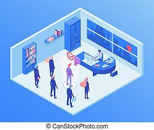 headhunting, ricerca, agente, reclutamento, direttore, servizio, scegliere, occupazione, isometrico, clipart, lavorante, ufficio, assunzione, characters., 3d, hr, forza lavoro, lavoro, talento, illustration., candidato, vettore