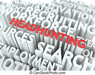 headhunting., wordcloud, concept.