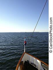 Heading South - A cruiseship heading to open sea.