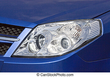 headlamp - Modern form of car headlights. Horizontal image.