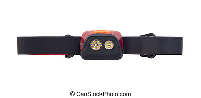 Top view of headlamp with black strap isolated on white background