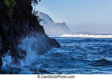 Headland of Hanalei on island of Kauai - Hideaways beach...