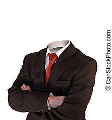business man without head and crossed arms isolated on white