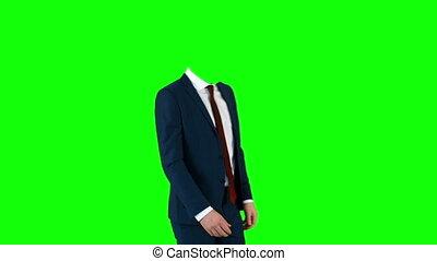 Headless businessman gesturing to