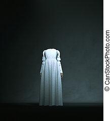 Headless ghost woman in white,3d rendering