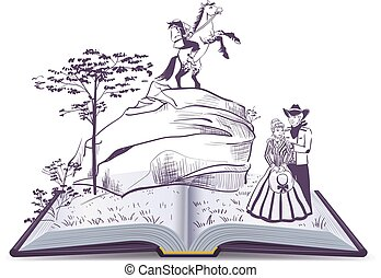 Headless horseman open page book vector illustration