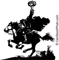 Woodcut style expressionist image of the Headless horseman ghost