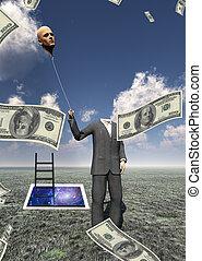 Headless man with cash raining and flaoting head