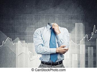 Headless pensive businessman