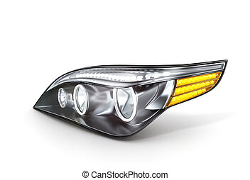 headlight car (done in 3d,white background)