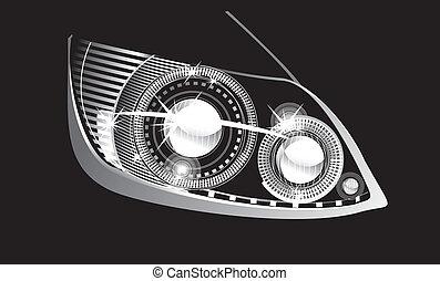 headlight  - modern luminescent lamp design of a  car