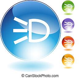 Headlight Crystal Icon - Headlight crystal icon isolated on ...