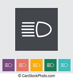 Headlight flat icon. Vector illustration.