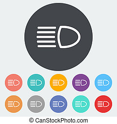 Headlight icon. - Headlight. Single flat icon on the circle...