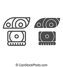 Headlight line and glyph icon. Lamp vector illustration isolated on white. Car light outline style design, designed for web and app. Eps 10.