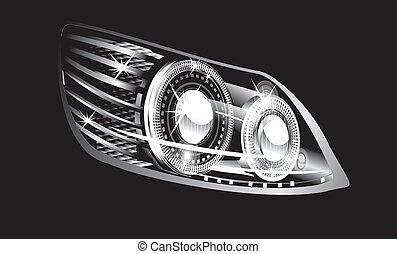 headlight  - modern luminescent lamp design of a  car