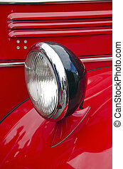Headlight of antique firefighters' car