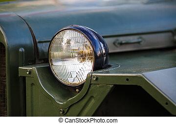 Headlight of military car