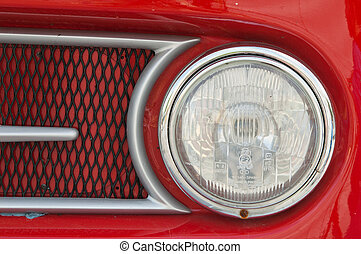 Headlight of the ancient car