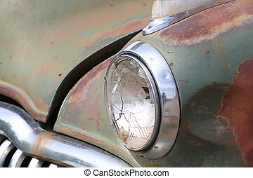 Headlight of the old car