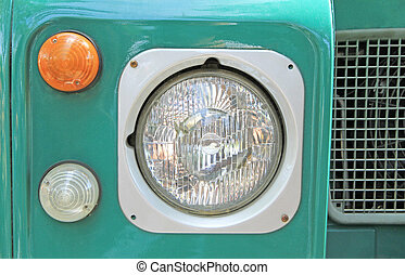 Headlight of vintage car