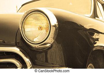 Headlight sepia - Classic and vintage cars - headlight close...