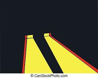 Headlights retro style. Noir. Yellow ray of light. Vector...