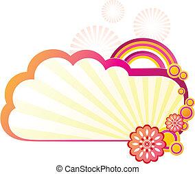 Headline background pattern - Cloud, rainbow & flower design