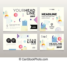 Headline banner - modern vector set of abstract images