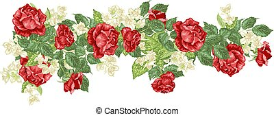 Headline frame element in vector with roses and jasmine flowers