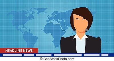 headline or breaking news woman tv reporter presenter vector