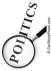 headline politics and magnifier, concept of politics...