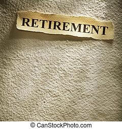 headline retirement on the old paper backgroune