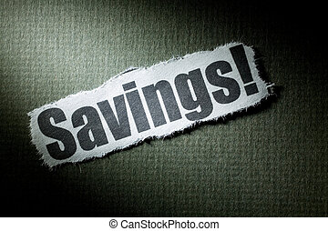 Headline Savings, concept of Savings Solution or Problem