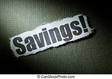 Headline Savings, concept of Savings Solution or Problem