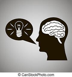 Headmind Brain Head Silhouette Generate Lamp Idea Manifest in Speach Bubble Black on Gray Background Vector Illustration