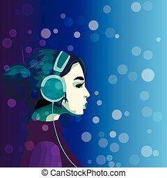 headphines, leány, zene hallgat