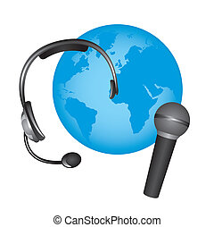 headphone and microphone over planet isolated. vector
