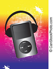 headphone and mp3 with rainbow background and white dots