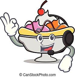 Headphone banana split mascot cartoon vector illustration