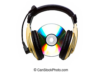 headphone., cd, dorado