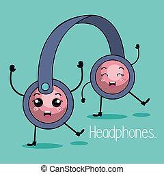 headphone character kawaii style