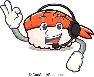 Headphone ebi sushi mascot cartoon