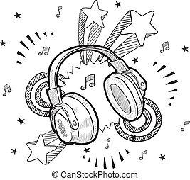 Headphone excitement sketch - Doodle style audio headphones...