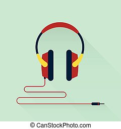 Headphone flat design vector illustration