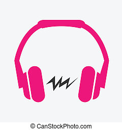 Headphone flat icon - Pink Headphones flat icon with sound...