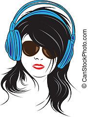 Headphone. - Girl with headphone.